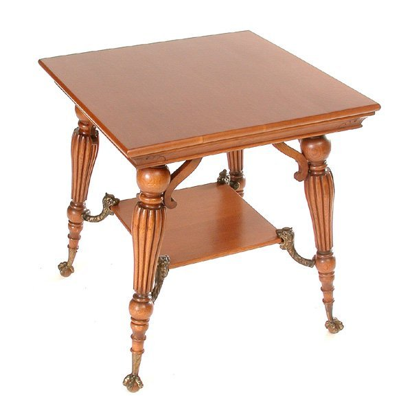 6: Victorian Oak Parlor Table, Ball & Claw Feet