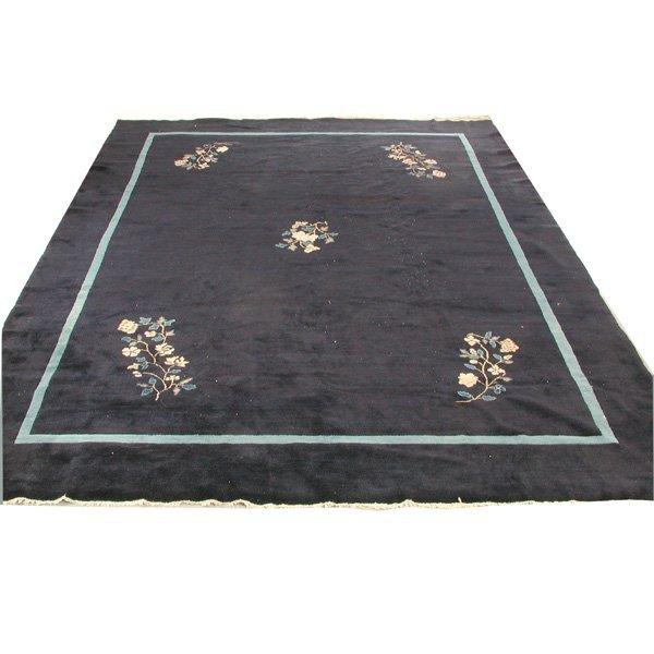 13: Chinese Carpet, Art Deco, Indigo, Flowers