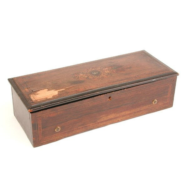 16: Swiss Inlaid Wooden Music Box, Cylinder