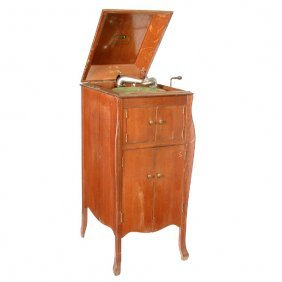 Victrola In Standing Oak Cabinet