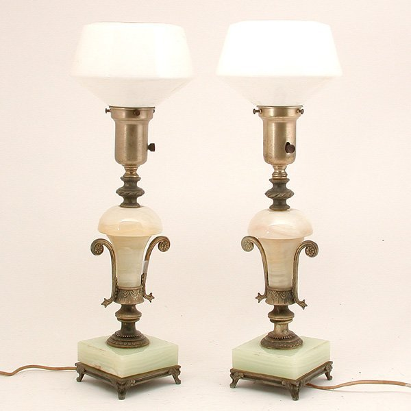 59: Edwardian Onyx & Metal Table Lamps