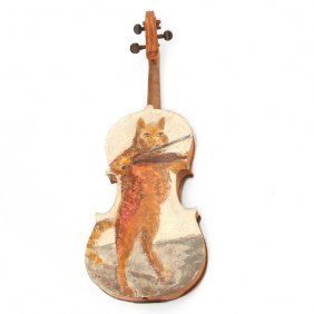 Cucaro Painting, Cat Playing Fiddle On Fiddle