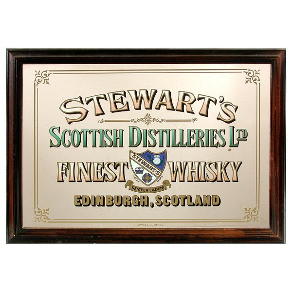 "63: Advertising Mirror, ""Stewarts Scottish Distilleries"