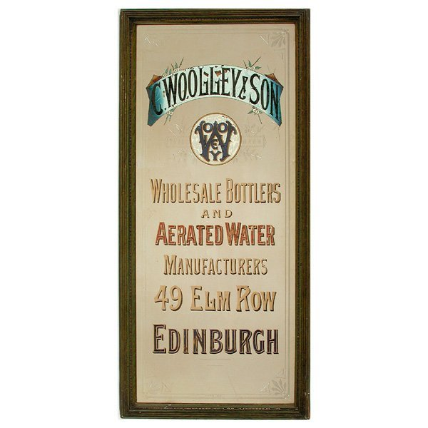 "70: Advertising Mirror,""Woolley & Sons Wholesale Bottle"