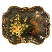 311 Tole Painted Tin Tray Peacock 19th C