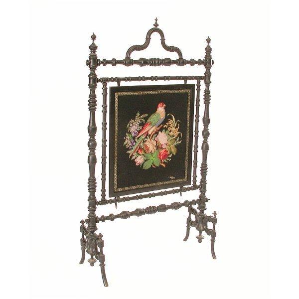 5: Victorian Needlepoint Screen W Ebonized Frame