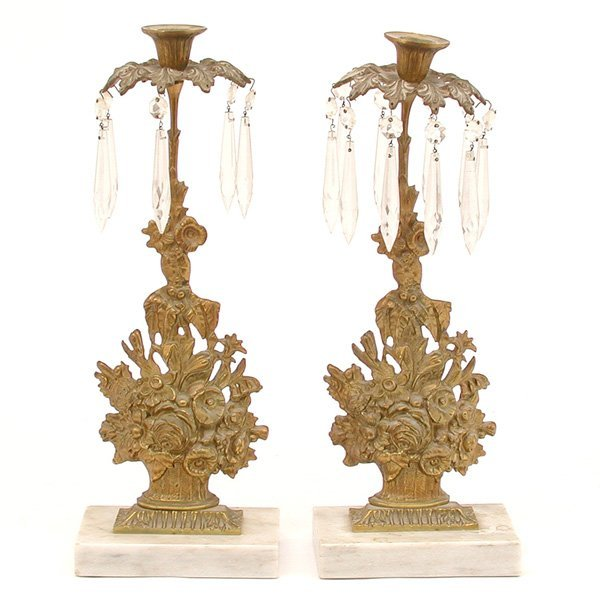 7: 2 Brass & Marble Candlestick Lustres