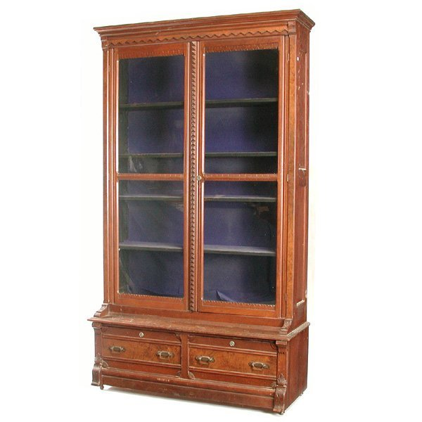 8: Victorian Carved Glass Front Bookcase