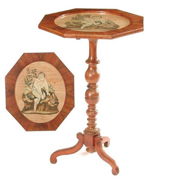 11: Victorian Walnut Table W Needlepoint Top