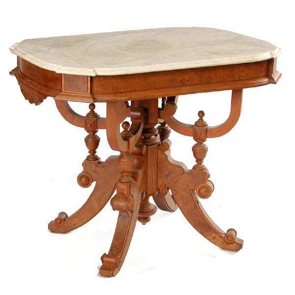 14: Victorian Marble Top Parlor Table