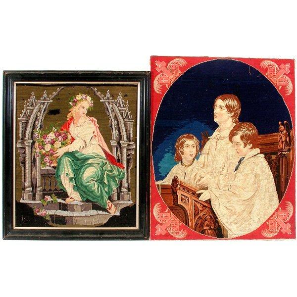 16: 2 Victorian Needlepoint Panels, Woman & 3 Boys