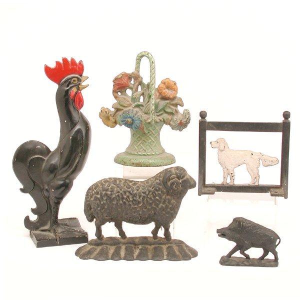 18: Victorian Metal Door Stops; Flowers & Animals