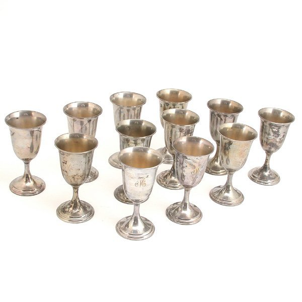 139: 12 S. Kirk & Sons Sterling Silver Goblets