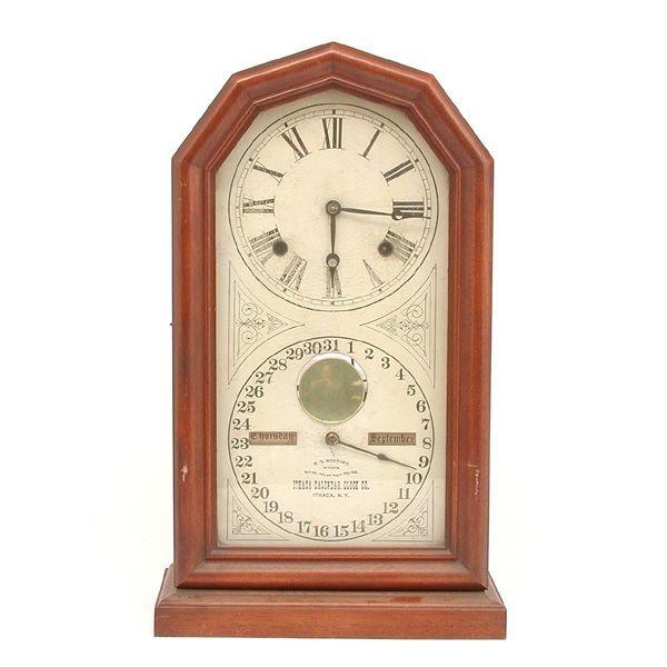 14A: Victorian  Walnut Mantle Clock, Ithaca Co.