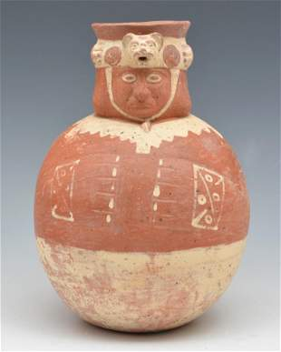 Chancay Pre-colombian painted figural vessel