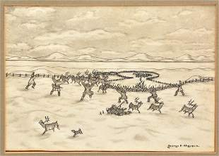 George Ahgupuk, Alaskan (1911 - 2001) Pen and Ink on