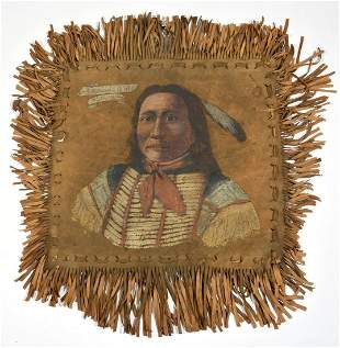 """Deer Hide Painting, """"Chief Goes to War Sioux"""""""