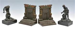 2 Pair Metal Bookends including Bradley and Hubbard