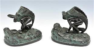 Ronson Native American Chief with Headdress Bookends