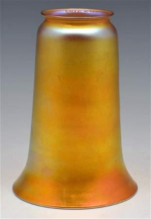 """Quezal Gold Iridescent Art Glass Shade, 8"""" tall."""