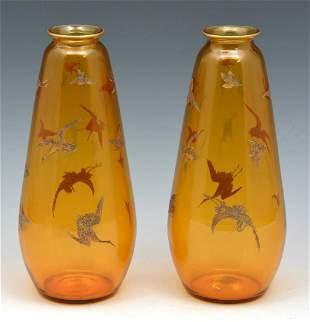 Pair of Moser Karlsbad smoky glass vases w/birds