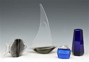 4 pieces of modern glass incl. Moser & Ghisetti