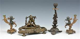 Grouping of 4 Metal Putti Figures