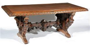 Carved Library Table Attributed to R.J. Horner.