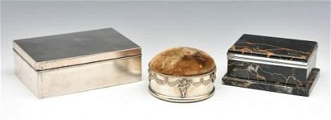 Shreve Sterling Pin Cushion, Asian Silver Box & Marble