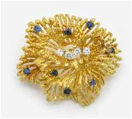 18K Tiffany  Co pin with diamonds  natural sapphires