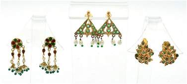 Three pair gold earrings 18k,14k, gemstones and mogul