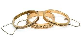 Lot (3) Victorian engraved, enameled bangle bracelets