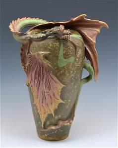 "Amphora Dragon Vase, 17 1/2"" Tall."