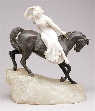 G. Gamboni Bronze & Alabaster Sculpture