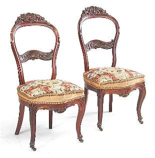 Pair of Rococo Rosewood Sidechairs