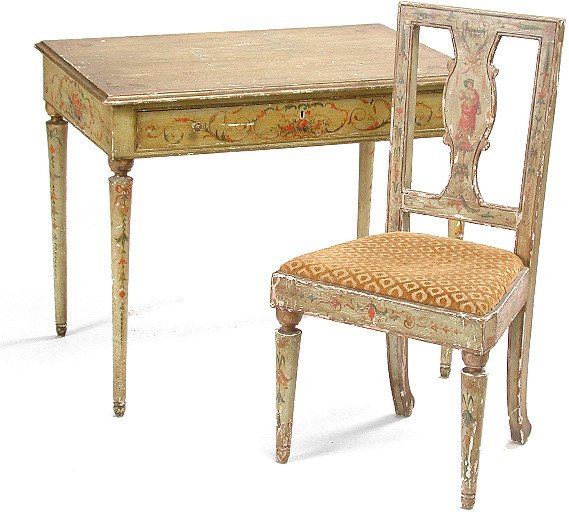 439: Painted Table and Chair