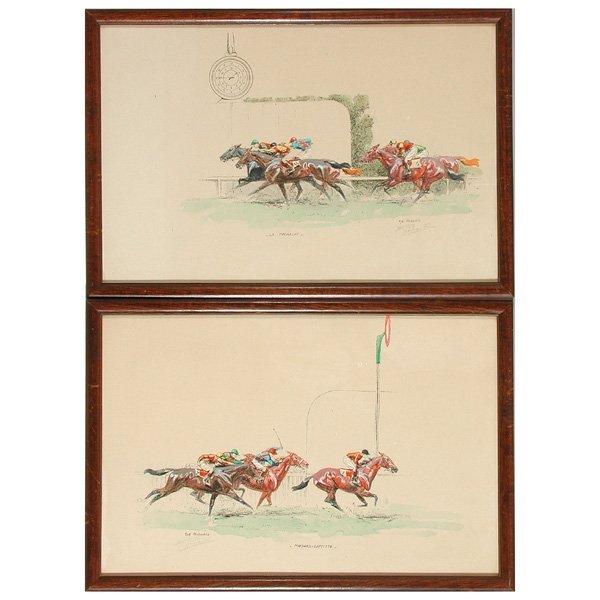 6: Eug. Pechaubes, Colored Horse Racing Prints