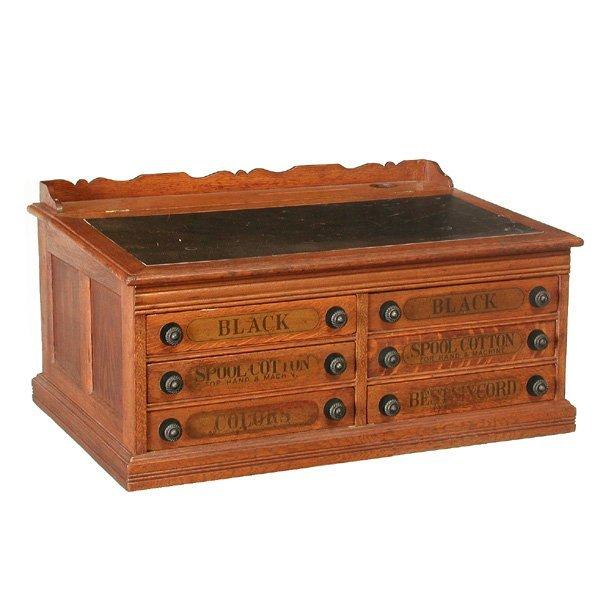 9: American J & P Coats Oak Lift Top Thread Cabinet