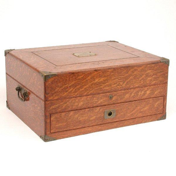 12: Oak Lock Box With Brass Plate & Fittings
