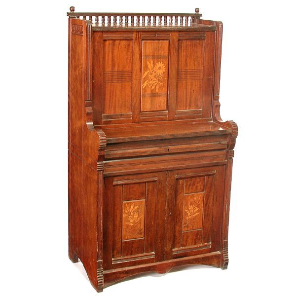 17: Inlaid Mahogany Desk, 19th. C