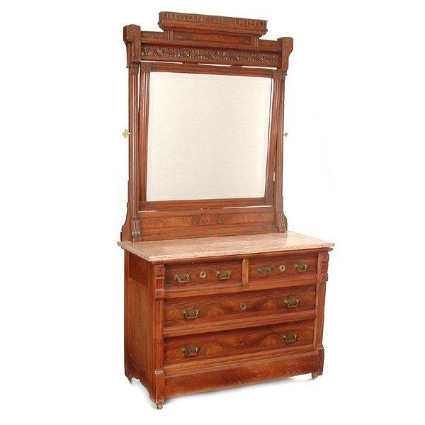 21: Eastlake Walnut Marble Top Dresser & Mirror