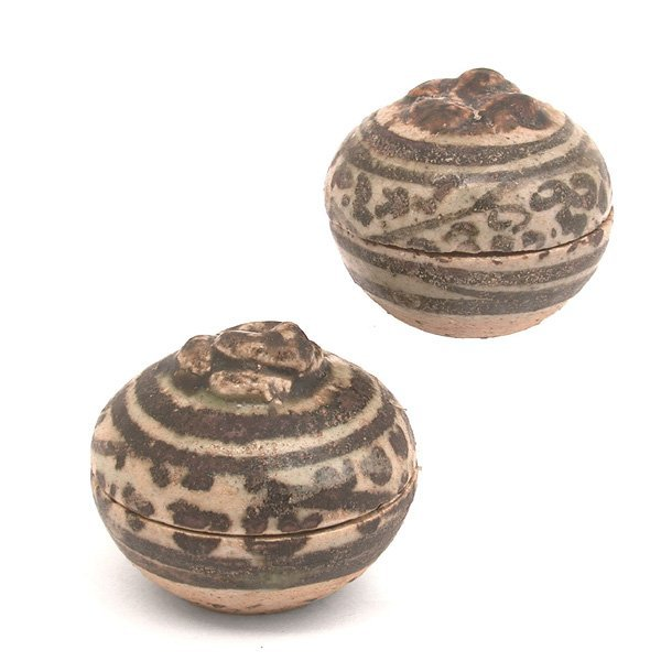 351: Antique Thai Ceramic Boxes, Ayutthaya Period