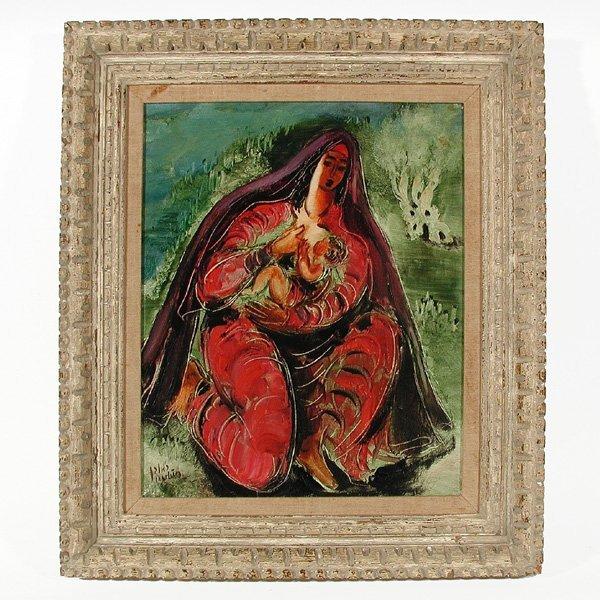 399: Reuven Rubin, Mother & Child, oil/canvas
