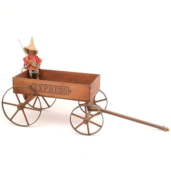 "23: 19th. C American Wooden Toy Wagon, ""Express"""