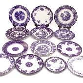 260: 13 Pcs. Flow Blue Porcelain; 12 Shaped Dinner Plat