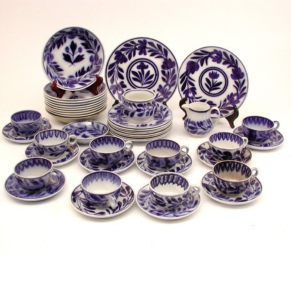 263: 44 Pcs. Flow Blue Porcelain Dessert Set, Liberty