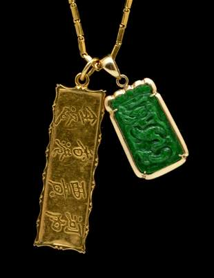 22k gold necklace with two Chinese charms, 22k & 14k