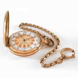 14k gold pocket watch & fob