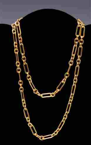 14k Yellow gold open link chain