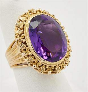 18k Yellow gold & amethyst cocktail ring